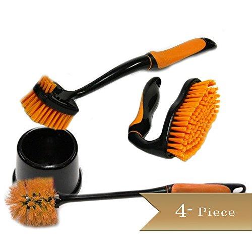 3 Piece - TrueCraftware Cleaning Brushes Set - Dish Brush - Scrub Brush - Toilet Brush - Assorted Colors