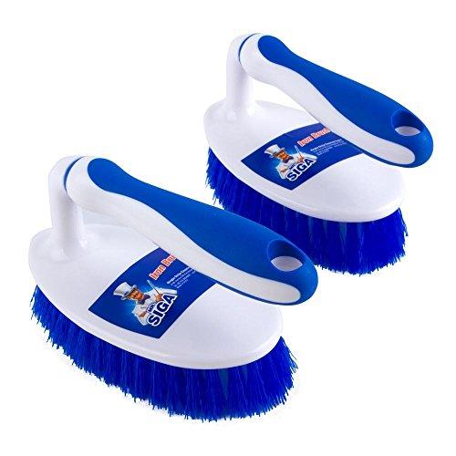 MRSIGA Heavy Duty Scrub Brush with Comfortable Grip Cleaning Brush for Bathroom Shower Sink Floor 2-Pack