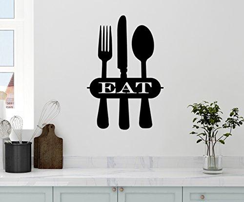24x15 Kitchen EAT Fork Knife Spoon Silhouette Design Mural Food Utensils Wall Decal Sticker Art Mural Home Decor