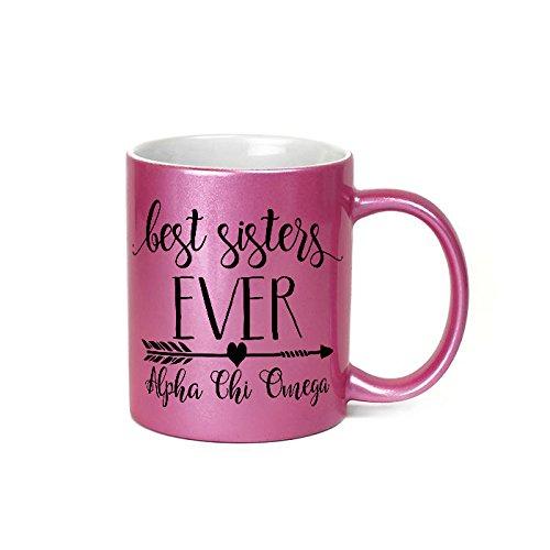 Alpha Chi Omega sorority Pink Glitter Ceramic coffee mug 11 ounces Microwave safe