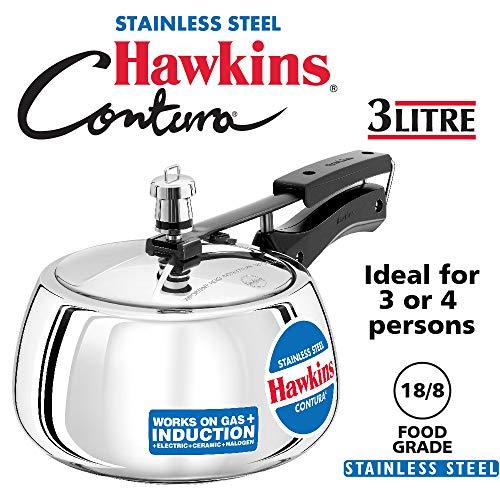 Hawkins SSC30 Contura Stainless Steel Pressure Cooker 3 Liter