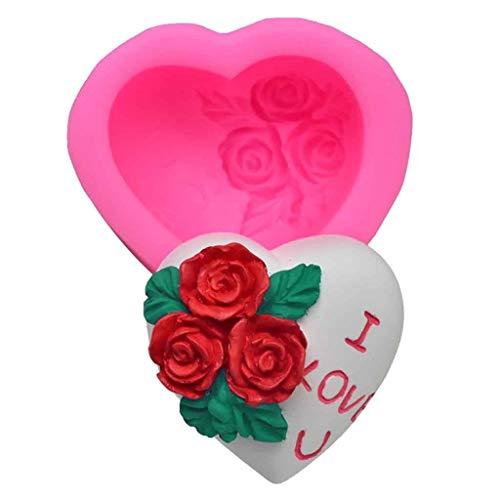 Fine DIY Rose Heart-Shaped Fondant Cake Mold3D Silicone Cake Mold Baking Mold Cupcake Mould Decorating DIY Bakeware Pink A