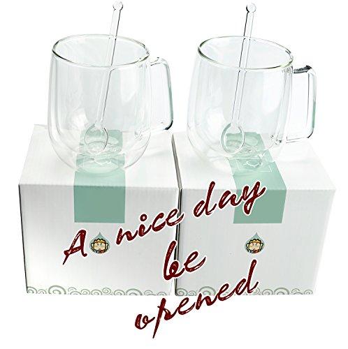 Set of 2 glass coffee mugs or Tea Mugs insulated coffee mug drinking glasses 12 ounce Double Wall Glasses Insulated Coffee Mugs with Two Glass Spoons Lead-free high-borosilicate coffee mug cup set