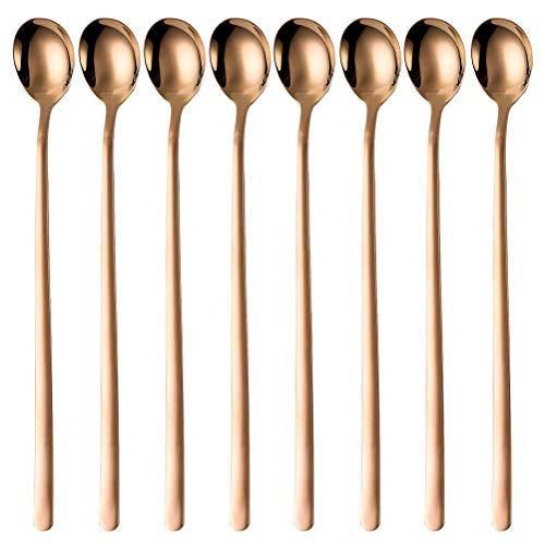 OMGard 9-Inch Long Handle Spoon 1810 Stainless Steel Spoon Set Mixing Spoon Ice Cream Spoon Long Spoon Iced Tea Spoon Coffee Spoon Dessert Spoon Milkshake SpoonSet of 8Rose Gold Ice spoon