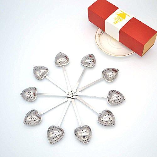 Tea Filter Long Grip Stainless Steel Mesh Heart Shaped Tea Strainer Spoon Set of 10 Tea Infuser Spoon