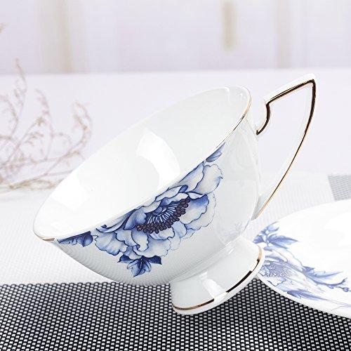 Porlien Elegance Collection Blue Floral Gold Trimmed Porcelain TeacupsCoffee Cups Saucers Set- 7 Oz Set of 4