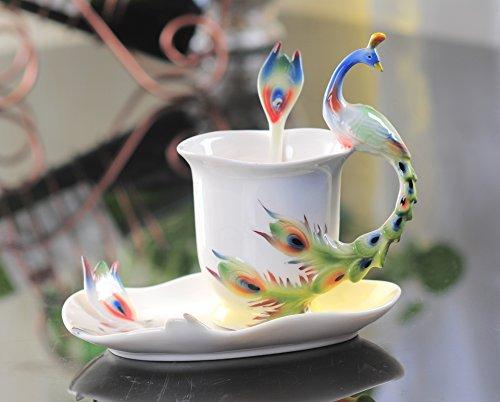Set of 180 ml  6 oz Gorgeous Porcelain Coffee Cup saucer Spoon Bone China Ceramic Peacock Tea Set Party Birthday Gift