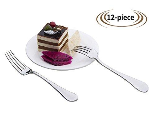 OTW PAVILION 1810 Stainless Steel 12-Piece Dessert Forks7-Inch Salad Forks Set for Salad Fruit CakeMirror Polished Silver Dessert Appetizer Forks Set for Home Party Restaurant Birthday Daily Use