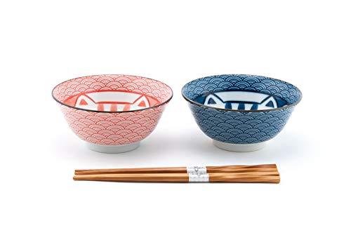 Fuji Merchandise Japanese Porcelain Multi Purpose Tayo Bowl Maneki Neko Lucky Cat Meow Design Set of 2 with Chopsticks Gift Set Made In Japan