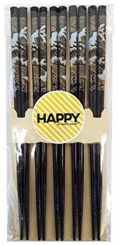 Happy Sales Bamboo Chopsticks Gift Set Wave Design Wave Black Color