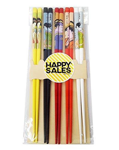 Happy Sales HSCH21S 5 Pairs Japanese Geisha Chopsticks Gift Set VD Color Multicolor