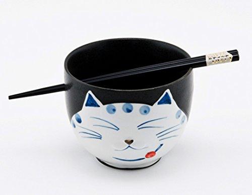 Happy Sales HSRB-CATBLK Japanese Ramen Udon Noodle Bowl with Chopsticks Gift Set Smiley Cat Black