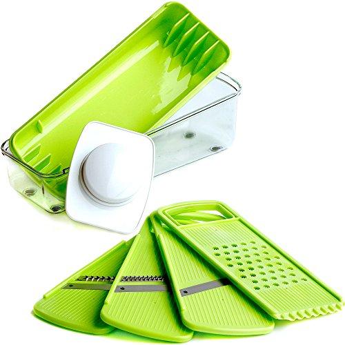 Mandoline Slicer By Blue Key World - Vegetable Slicer & Julienne Slicer - Stainless Steel Blades - Food Safe Plastic
