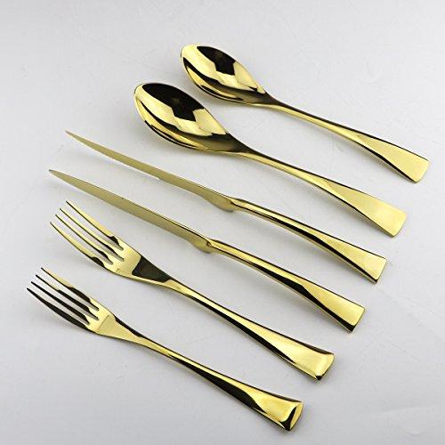 Uniturcky Gold Stainless Steel Mirror Polished Flatware Set  Steak Knife Dinnerware Knife Fork Salad Fork Dessert Spoon 6-piece Service for 1