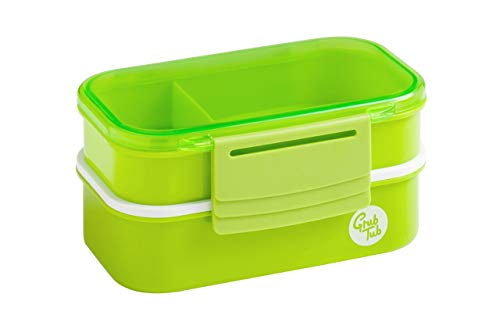 Premier Housewares Grub Tub Lunch Box with 2 Containers and Cutlery - Green