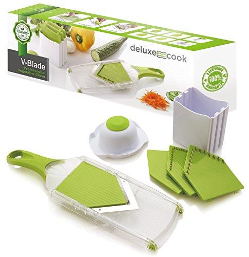 Deluxe Cook V-blade Mandoline Slicer - French Fry Cutter - Hand-held Stainless Steel Vegetable Slicer & Julienne