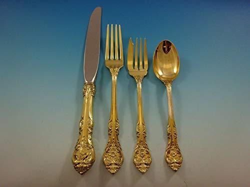 King Edward Gold by Gorham Sterling Silver Flatware Service 8 Set Vermeil 32 Pcs
