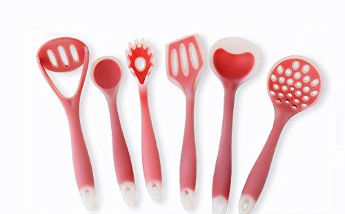 Joyoldelf 6 Piece Premium Silicone Kitchen Baking Set - Flat Spatula Regular Turner Pasta Spoon - Soup Ladle - Spoon - Large Drainin 6
