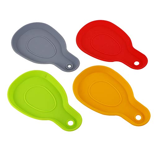 Webake Silicone Spoon Rest for Stove Top Cooking Spoon Holder Ladle Holder Spatula Holder for Kitchen Dining Table Fork BBQ Brushes Tongs and Kitchen Utensils Set of 4 Multiple Colors