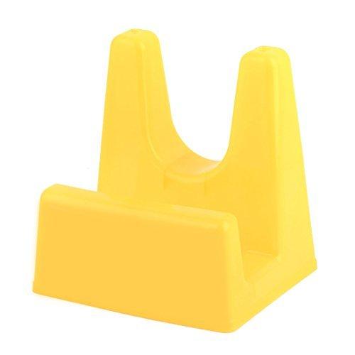 DealMux Plastic Kitchen Utensil Pan Pot Lid Cover Ladle Stand Holder Shelf Rack Orange