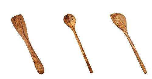 Naturally Med Olive Wood Utensils Bundle - 1x12 Olive Wood Spatula 1x12 Olive Wood Cooking spoon 1x12 Olive Wood Corner SpoonSpatula