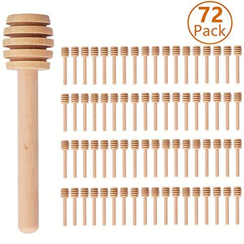 72 Pack Mini 3 Inch Wooden Honey Dipper Sticks Honey Stirrer Honey Wand for Honey Jar Dispense Drizzle Honey and Wedding Party Favors