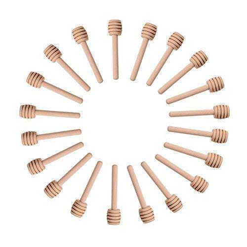 Sohapy 24 Pack 31 Mini Wooden Honey Dipper Sticks Spoon