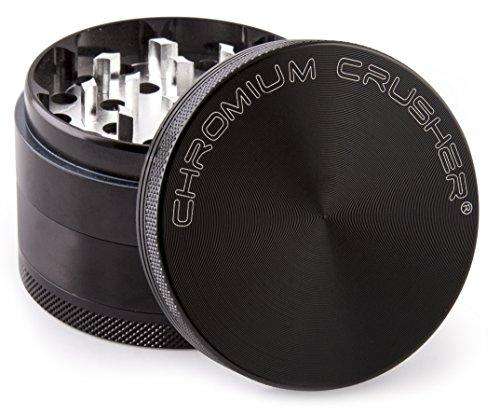Chromium Crusher 2 Inch 4 Piece Tobacco Spice Herb Grinder - Black