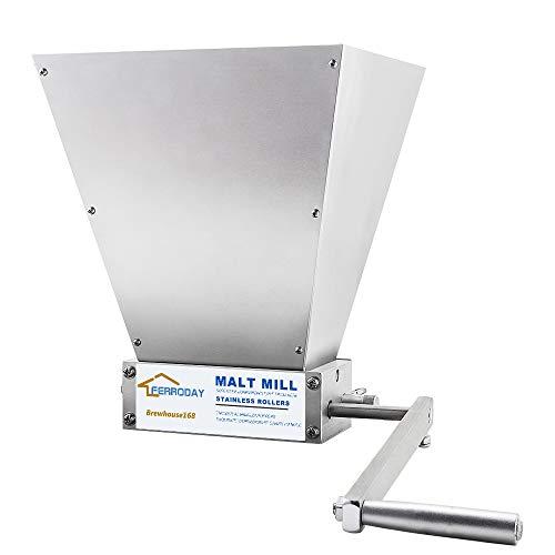 FERRODAY Malt Crusher Stainless Steel 2 Roller Malt Mill Homebrew Grain Crusher Manual Adjustable Barley Grinder Medium - NO Wooden Base Version
