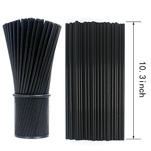 Tomnk 500PCS 103 Inch Drinking Straws Black Plastic Straws