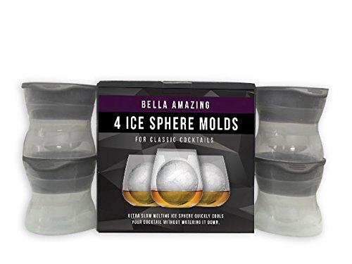 Bella Amazing - Ice Sphere Mold -set Of 4 - Amazing Silicone Ice Ball Maker Creates The Bigger Round Ice Cubes.