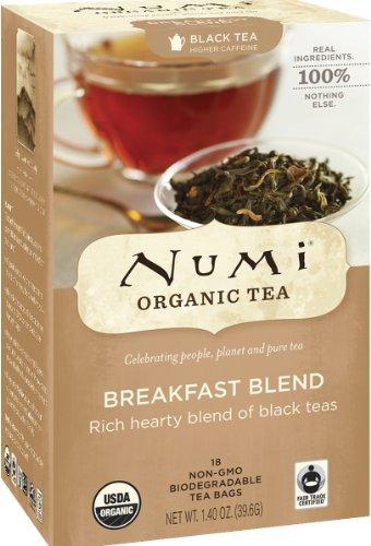 Numi Organic Tea Breakfast Blend Full Leaf Black Tea 18 Count non-GMO Tea Bags Pack of 3