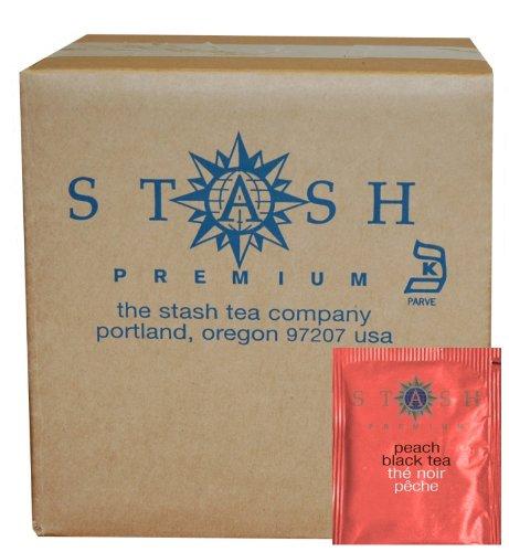 Stash Tea Peach Black Tea 100 Count Box of Tea Bags in Foil packaging may vary