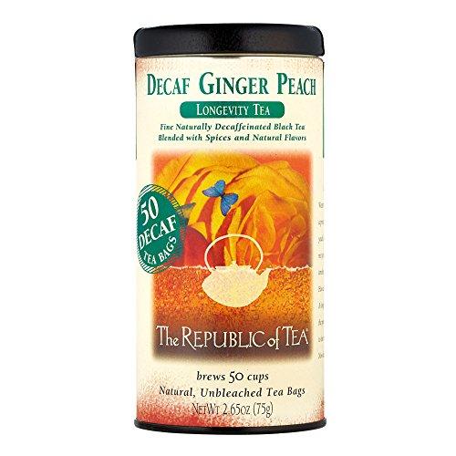 The Republic Of Tea Decaf Ginger Peach Black Tea 50 Tea Bags Longevity Blend Of Ginger And Peach Tea