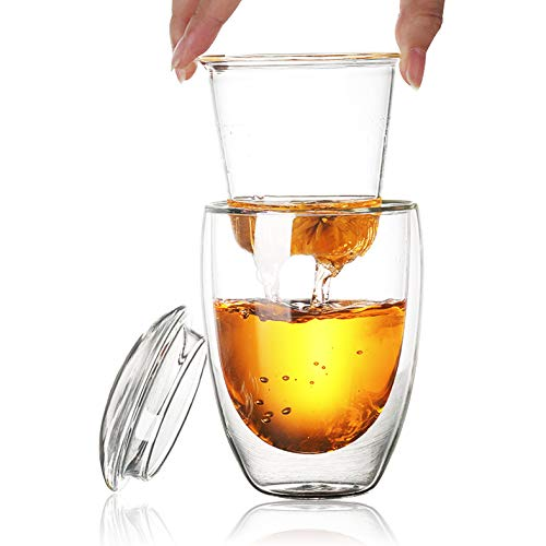 Glass Tea Cup with Infuser and Lid Double Wall Glass TeaCoffee Mug (350ML13OZ)