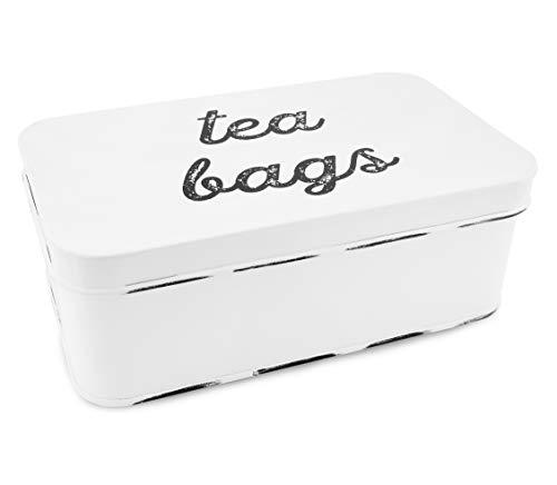 AuldHome Farmhouse Tea Bag Box Vintage Retro Style Enamelware Tea Storage Tin