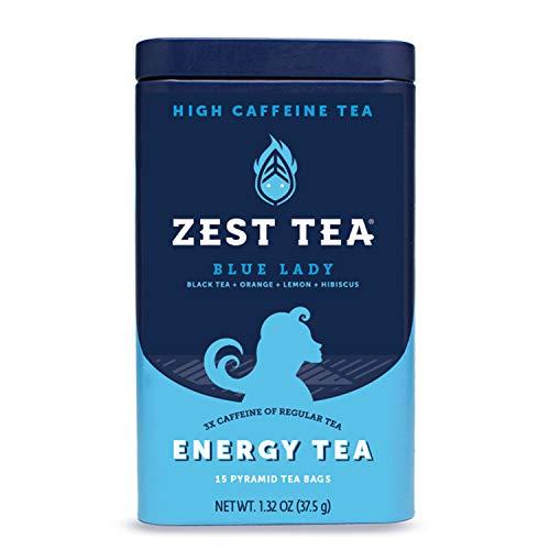 Zest Tea Premium Energy Hot Tea High Caffeine Blend Natural Healthy Traditional Black Coffee Substitute Perfect for Keto 150 mg Caffeine per Serving Blue Lady Black Tea Tin of 15 Sachet Bags