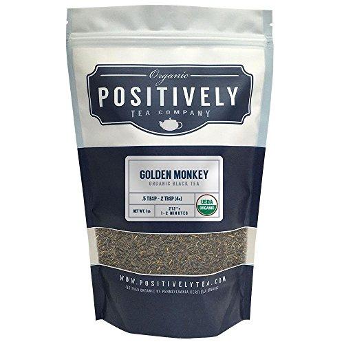 Positively Tea Company Organic Golden Monkey Black Tea Loose Leaf USDA Organic 1 Pound Bag