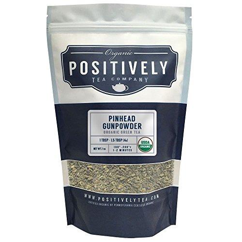 Positively Tea Company Organic Pinhead Gunpowder Green Tea Loose Leaf USDA Organic 1 Pound Bag