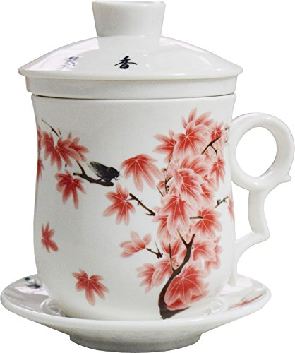BandTie Convenient Travel Office Loose Leaf Tea Brewing System-Chinese Jingdezhen Blue and White Porcelain Tea Cup Infuser 4-Piece Set with Tea Cup Lid and Saucer Red Maple Leaf