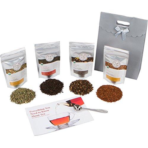 Golden Moon Tea - Tea Gift Set  100 USDA Organic Loose Tea Sampler Set  Robust Smooth Taste No Bitterness 48 Servings in 4 Popular All Natural Flavors  Plus Free Perfect Portion Teaspoon