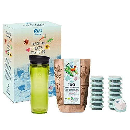 Shuyao Tea Culture Starter Box Tea to Go Thermal Mug with Integrated Tea Strainer  5X 3 Loose Organic Tea Without Caffeine Green 32 cm