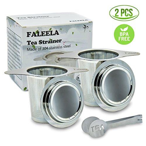 2 pcs Stainless Steel Tea Infuser Premium Mesh Tea Strainer Filters Tea Interval Diffusers Set of 2 for Loose Leaf Tea 1Pc Free Tea Scoop Included