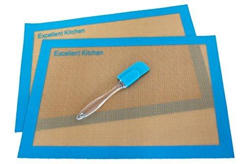 Silicone Baking Mat (2 Pk)- Cookie Sheets & Bakeware Set- High Quality Baking Sheet - Free Spatula