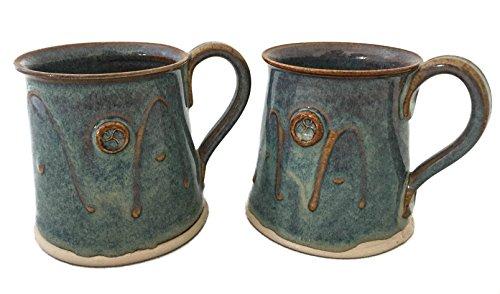 Irish Handmade Coffee Tea Mug SetTwo Flared Cylinder Hand-Thrown Cups 300ml Green