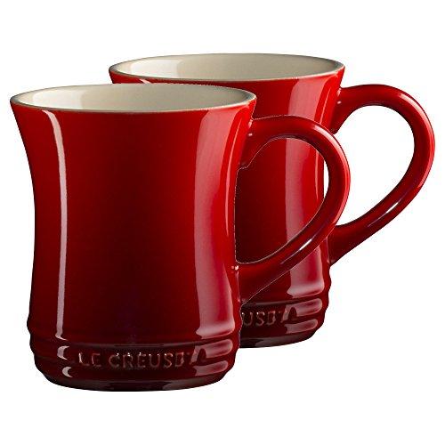 Le Creuset Cerise Cherry Stoneware 14 Ounce Tea Mug Set of 2