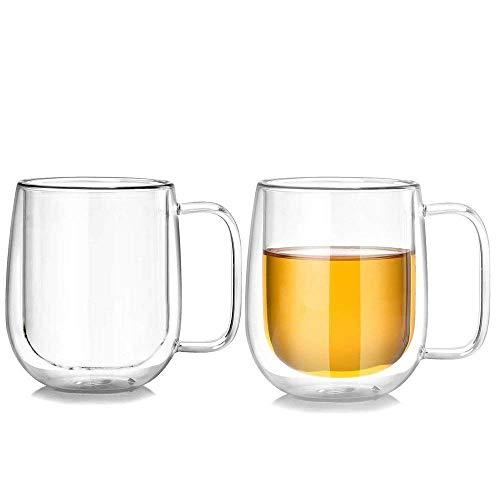 Lhx Double Wall Clear Coffee Mug 10 oz High Boron Silicon Glass Insulated Tea Mug Set of 2