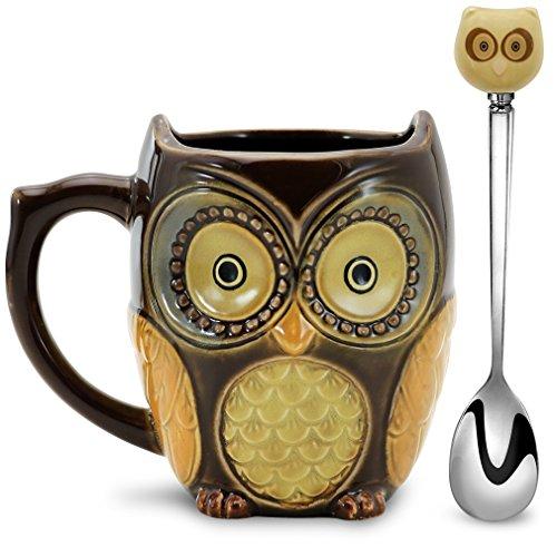 SQOWL 3D Coffee Mug Funny Cute Owl Ceramic Cup Coffee Mug with spoon Tea Mugs Set for Women and girls 12 oz Brown