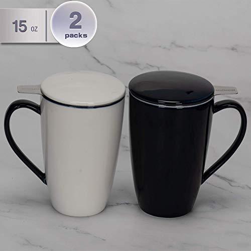 amHomel Porcelain Tea Mug With Infuser Basket and Lid for Steeping 15 OZ Cups Mugs Set of 2 DarkBlue Color