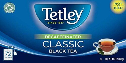 Tetley Naturally Decaffeinated Classic Black Tea 487 oz Box Containing 72 Tea Bags - Enjoy Hot or Iced a Natural Source of Antioxidants